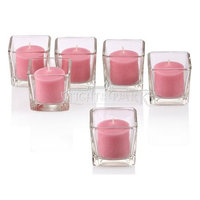 Light In The Dark Clear Glass Square Votive Candle Holders With Soft Pink Votive Candles Burn 10 Hours Set Of 72