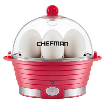 Chefman Egg Cooker, Electric Countertop Modern Stylish Design, Auto Shut Off, Six Egg Capacity and Removable Tray, RJ24-V2-Red