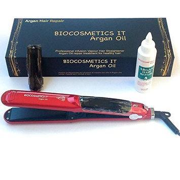 BIOCOSMETICS IT - Professional Hair Steam Flat Iron with Steam Infusion Hair + Argan Hair Repair Fluid