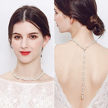 FXmimior Bridal Jewelry Backdrop Necklace Rhinestone Back chain Jewelry For Women