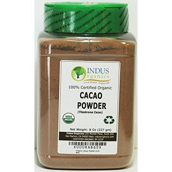 Indus Organics Raw Cacao Powder, 8 Oz Jar, Sulfite Free, No Added Sugar, Premium Grade, High Purity, Freshly Packed
