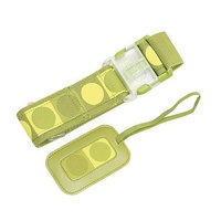 Grass green luggage belt and tag set dot design by Lug