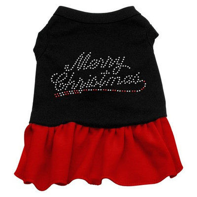 Mirage Pet Products Merry Christmas Rhinestone 16-Inch Pet Dress, X-Large, Black with Red