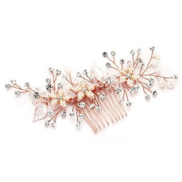 Mariell Handmade Rose Gold Bridal Hair Comb Headpiece with Pearls, Crystals & Hand-Enameled Matte Petals