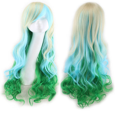 Image Long Curly Wavy Hair Wigs w/ Hair Wig + Wig Cap + Comb+ Rubber Band Green&White&Blue