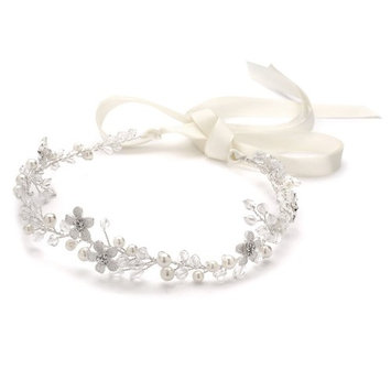 Crystal Bridal or Wedding Headband with Silver Flowers, Ivory Pearls and Satin Ribbon