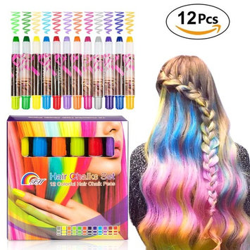 Elover Hair Chalk Set for Girls, 12 Colorful Temporary Hair Chalk Pens. Safe for All Ages. Makes a Great Birthday Gifts Present For Party, Cosplay, Theater, Halloween, Girl's Night, Mother's Day [12 Colors Hair Chalk Pen]