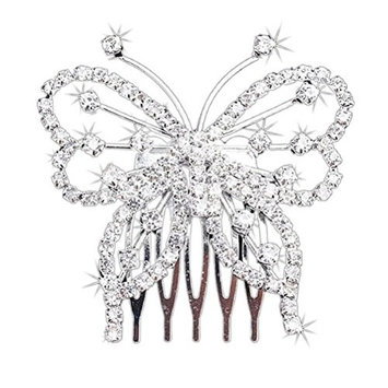 ROSENICE Rhinestone Hair Comb Clip Crystal Butterfly Hair Jewelry (Silver)
