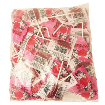 Luv Pops Heart Shaped Lollipops Red Cherry Flavored Bulk : 3 Lbs (80 Count)
