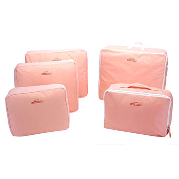 Simplicity AMC Packing Cubes 5pcs Value Set for Travel Luggage Organizers Zip Bags, Pink
