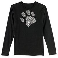 Los Angeles Pop Art Women's Word Art Long Sleeve Shirt - Dog Paw [Fit : Women's]