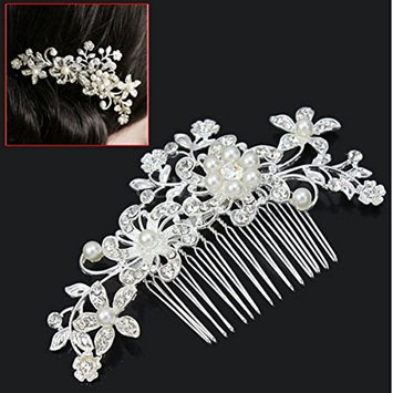 Women's Bridal Jewellery Rhinestone Crystal Flower Pearls Hair Comb Clip for Wedding, Party and Some Special Occasions -Silver