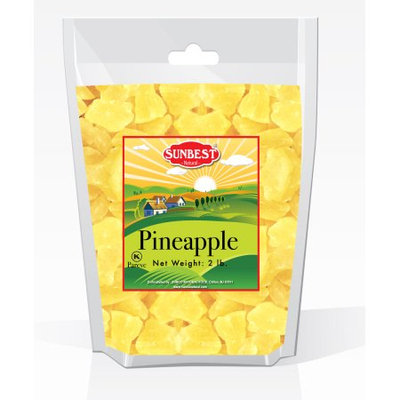 SUNBEST Dried Pineapple Chunks 2 Lbs in Resealable Bag