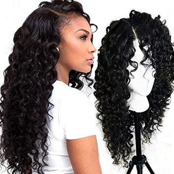 Superwigy Lace Front Wig Synthetic Nature Black Long Curly Wave Wigs