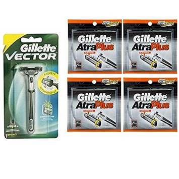 Vector Plus Razor Handle + Atra Plus Refill Razor Blades 10 ct. (Pack of 4) + Makeup Blender