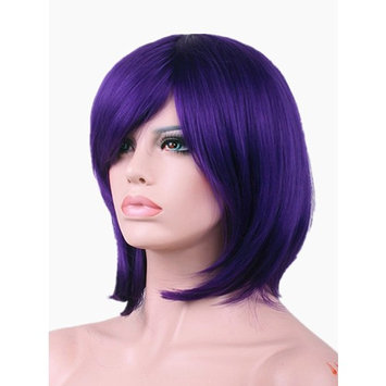 Short Purple Bob Wigs for Women with Oblique Bangs Straight Wigs 11 Inch BU029PR