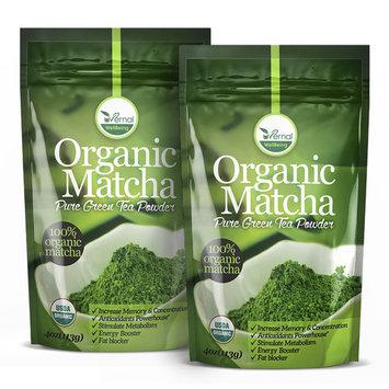 2 Pack Organic Matcha Green Tea Powder - 100% Pure Matcha (No Sugar Added - Unsweetened Pure Green Tea - No Coloring Added Like Others) 4oz