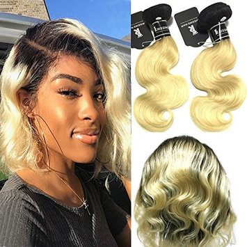 RISSING 8A 360 Lace Frontal With Bundles Preplucked 100 Real Human Hair, Ombre 2 Tone Natural Black Blonde #1b/613 Dark Roots Hair Weave Human Hair 2 Bundles (12