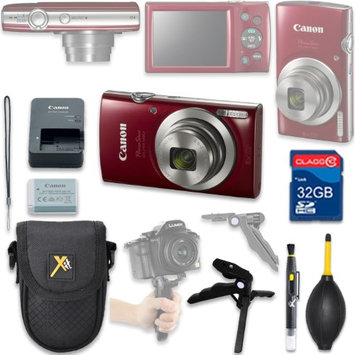 Als Variety Canon PowerShot ELPH 180 Digital Camera (red) with 32GB SD Memory Card + Accessory Bundle