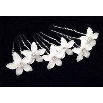 White Flower Hair Pins with Rhinestone Crystal for Wedding, Prom, Dance and Special Event
