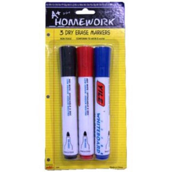 DDI 396228 Dry Erase Markers - 3 pack - Red Black Blue Case Of 48
