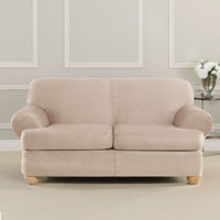 Sure Fit, Inc. Ultimate Heavyweight Stretch Faux Suede T-Cushioned Loveseat Slipcover Cement