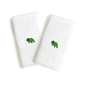 Linum Home Sweet Kids 2-piece White Turkish Cotton Hand Towels with Embroidered Green Turtle (Set of 2)