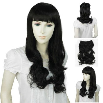 Landisun NEW SN011 Black One Piece Long Curl/Curly/Wavy Hair Extension Clip-on