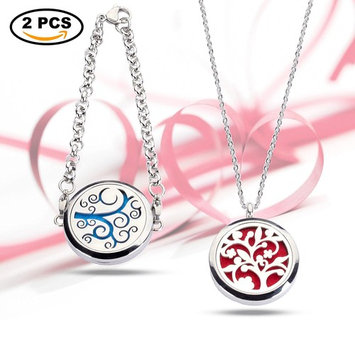 2Pcs Aromatherapy Essential Oils Diffuser Necklace and Bracelet for Women,Tree of Life Locket Pendant Jewelry,26