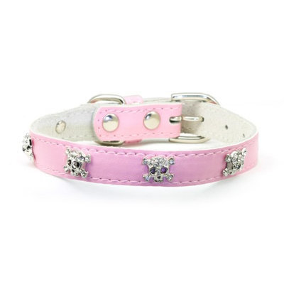 Hip Doggie Pink Skull Leather Collar, Size: XS