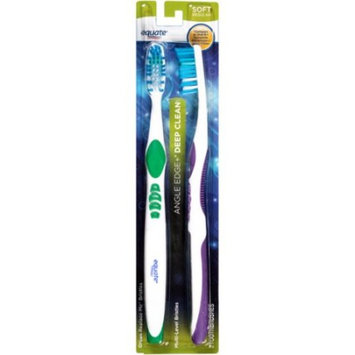 Equate Angle Edge & Deep Clean Soft Regular Toothbrushes, 2 Ct