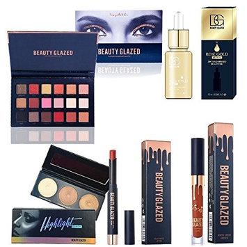 Beauty Glazed 18 Colors Rose Gold Eyeshadow Palette 24K Rose Gold Face Oil Lipstick Lip Pen Makeup Set Cosmetic Kit