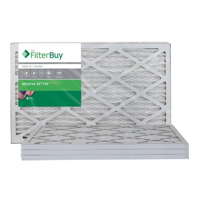 AFB Silver MERV 8 10x25x1 Pleated AC Furnace Air Filter. Filters. 100% produced in the USA. (Pack of 4)