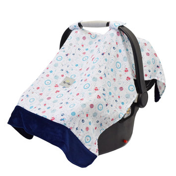 Itzy Ritzy Cozy Happens Muslin Infant Car Seat Canopy Interstellar with Blue Minky Dot - Itzy Ritzy Diaper Bags & Accessories