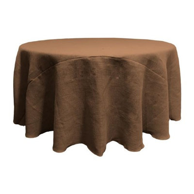 LA Linen TCBurlap120R-Brown Round Dyed Natural Burlap Tablecloth Brown - 120 in.