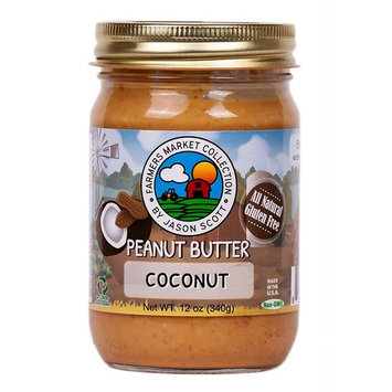 Jason Scott's All Natural Dry-Roasted Peanut Butter with Coconut - Vegan Unsalted Gluten Free Non-GMO Zero Added Sugar Family Owned Brand [Coconut]