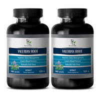 Nerve support - VALERIAN ROOT EXTRACT 125 MG - Valerian for anxiety - 2 Bottle 200 Capsules
