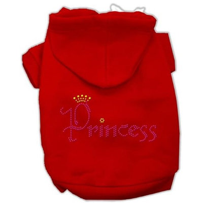Mirage Pet Products 5467 XLRD Princess Rhinestone Hoodies Red XL 16