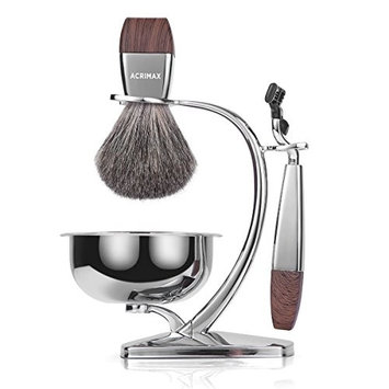 ACRIMAX Premium Badger Hair Shaving Brush Set with Luxury Brush Stand and Brush holder for Soap Bowl and Manual MACH3 Razor Gift Kits for Men