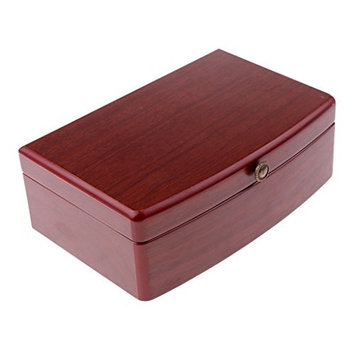 MagiDeal Wooden Watch Box 5 Slots Jewelry Earrings Ring Organizer Storage Case with Mirror Lid