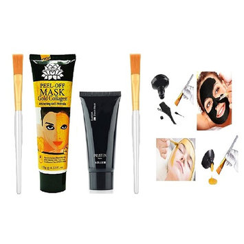 24k Gold Collagen Peel-off Facial Mask with Skin Soft Brush Applicator ($10 IN VALUE BRUSHES), Whitening Anti-Wrinkle Face Masks Skin Care Face Lifting Firming Moisturize 4.22 Fl.oz