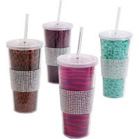 Gibson Home Safari Bling Assorted Designs 20Ounce Tumbler Set, Set of 4