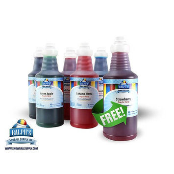 Snow Cone Syrup - 100% Cane Sugar Syrup - Free Quart! Normally Ships Same Day.