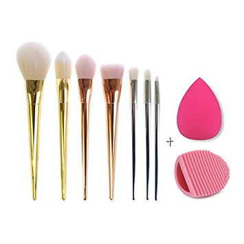 CoKate Comb Makeup Set, 7PC Brush-1PC Eggbrush Cleaner-1PC Water Droplets Soft Sponge Puff