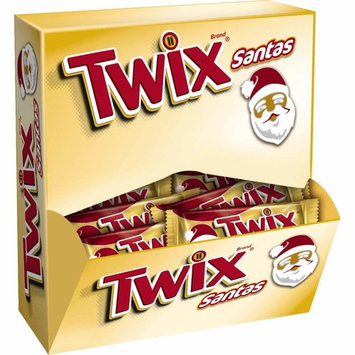 TWIX Caramel Cookie Chocolate Candy Santa, Singles (24 Count Box)