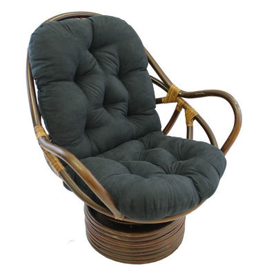 International Caravan, Inc International Caravan Rattan Coil Base Swivel Rocker with Micro Suede Cushion