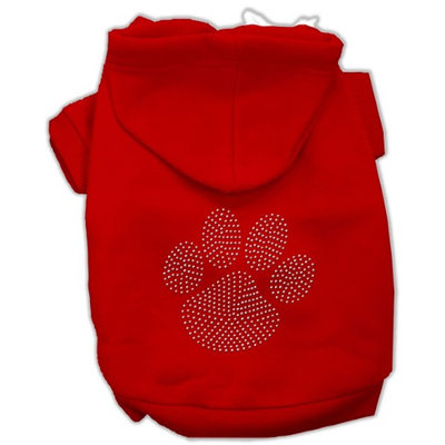 Mirage Pet Products 5455 XSRD Clear Rhinestone Paw Hoodies Red XS 8