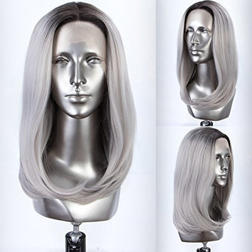 Glueless Ombre Grey Lace Front Wig Bob Synthetic Silver Gray Wig with Dark Roots Heat Resistant Replacement Wigs for Women