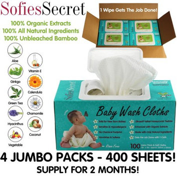 Moist Towel Services SofiesSecret Fragrance FREE Bamboo Baby Wipes, 100% Organic Ingredients, 400 Count, 8