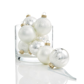 Glass Icy White & Silver Ball Ornaments, Set of 8, Created for Macy's